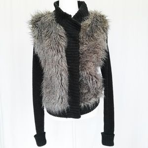 Premise Charcoal Grey Cardigan with Faux Fur Front